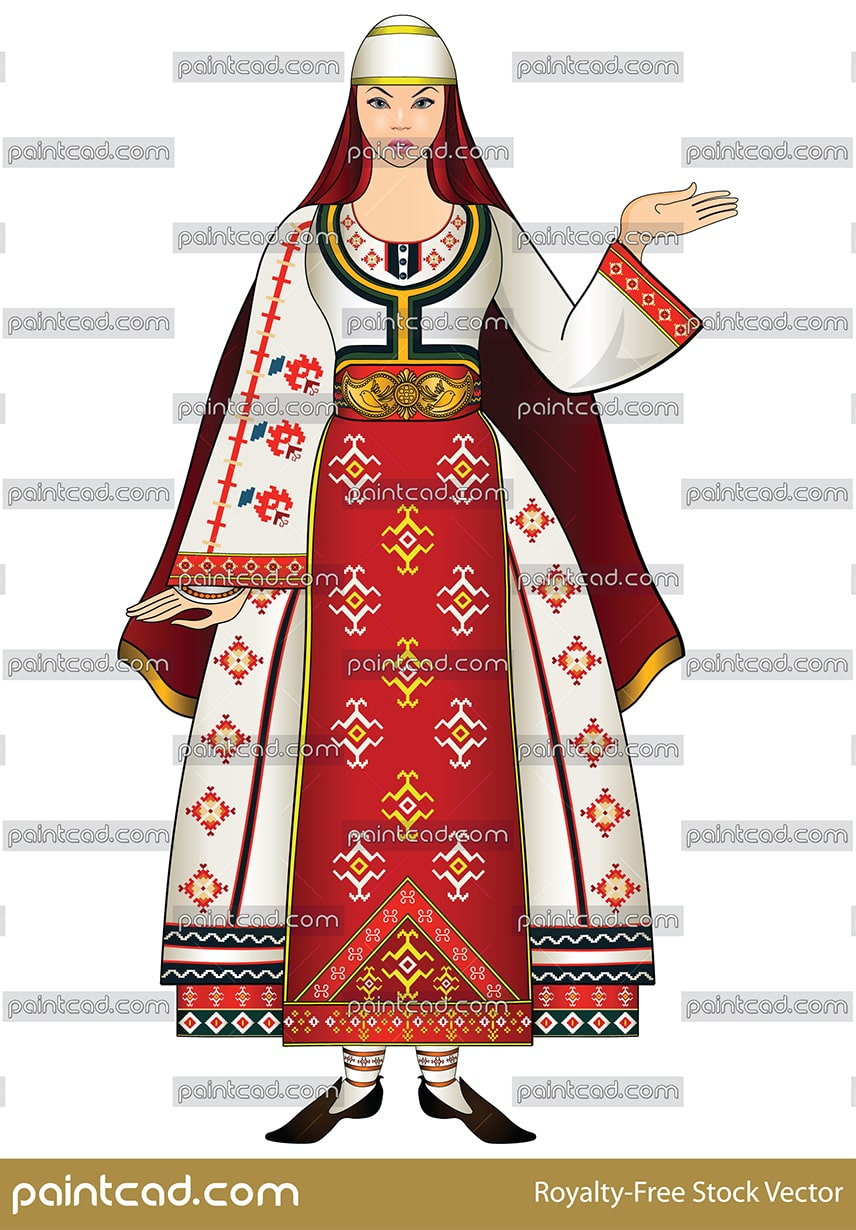 Beautiful woman in folk costume from Southwest Bulgaria - vector illustration