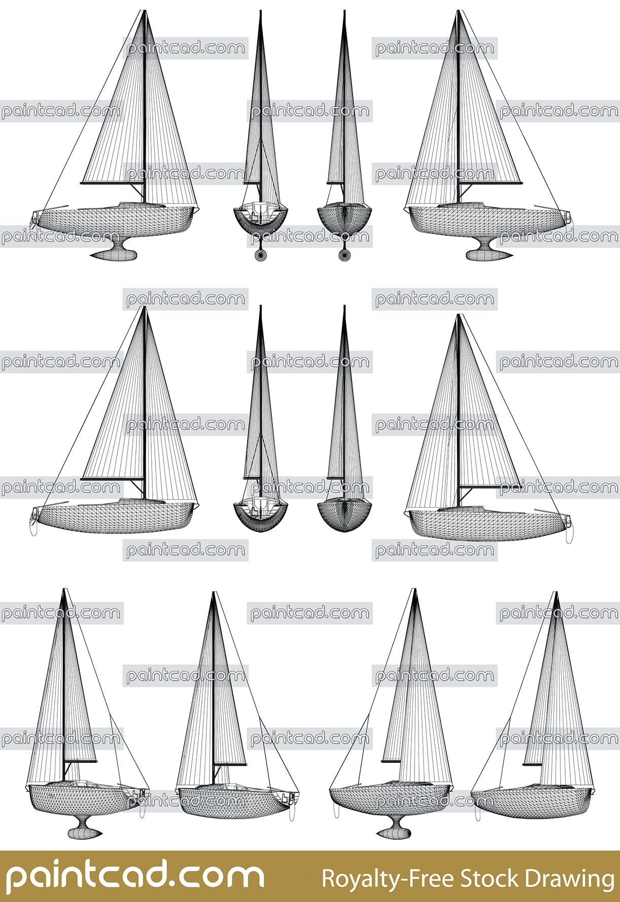 Wireframe vector design of motor boat with keel and sails - vector illustration