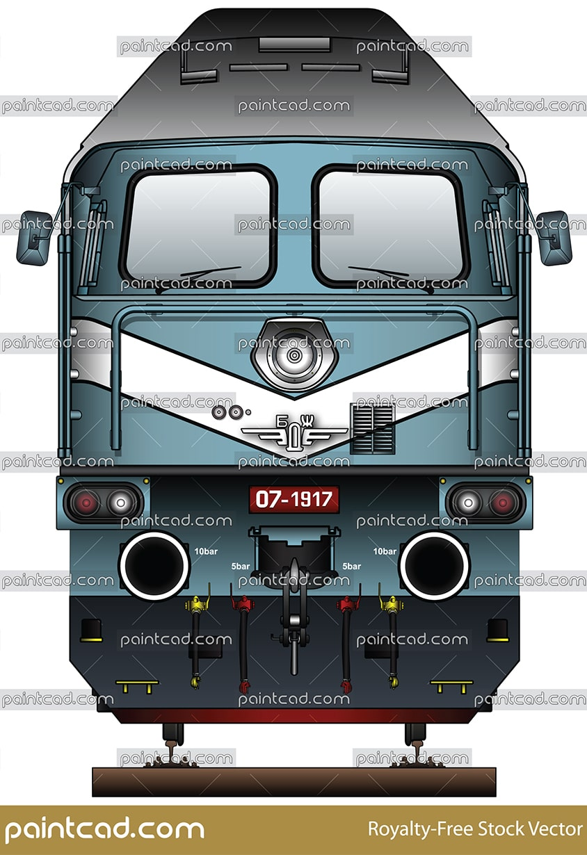 Jubilee Soviet locomotive Te109 by Bulgarian State Railways - vector illustration